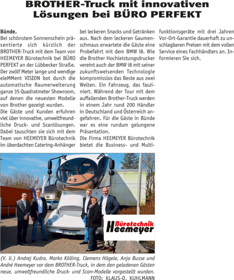 Brother Truck Extrablatt Bericht - BROTHER-Truck mit innovativen <br> Lösungen bei BÜRO PERFEKT